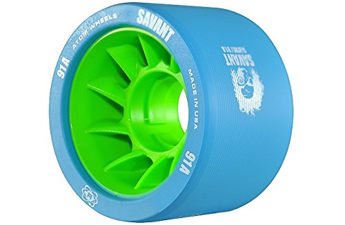 Atom Savant Skate Wheels Blue 91A Set of 8