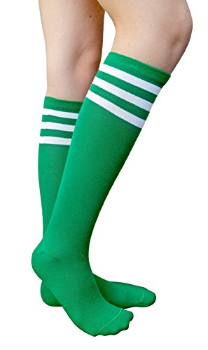 AM Landen Women's Casual Green with Three White Stripes Knee High Socks Girls socks