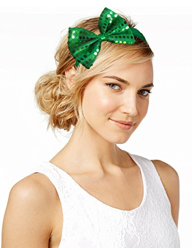 ST. Patrick's Day Green Felt Sequin Bow Headband Costume Party Head Wear Hat - Lucky Irish Head Band Accessory - For Women, Girls ()
