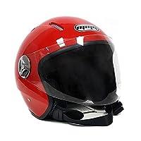 Motorcycle Scooter PILOT Open Face Helmet DOT - RED (Medium) from ScooterPartsDepot