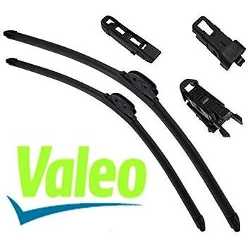VALEO: Juego de 2 escobillas de limpiaparabrisas planos con rascadores 55/50cm: Amazon.es: Coche y moto