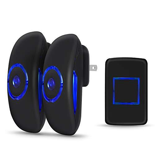 [해외]무선 도어 벨 숭배 미니 워터 푸프 초인종 차임 차임 작동 1000 피트 와 36 멜로디 4 볼륨 레벨 및 LED 플래시 - 블랙 / Wireless Door Bell Adoric Mini Waterpoof Doorbell Chime Operating at 1000 Feet with 36 Melodies 4 Volume Levels & LED ...