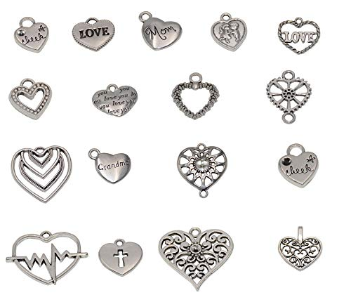 - Yansanido 100 Gram Assorted Heart Silver DIY Antique Charms Pendant Mixed Charms Pendants Necklace Bracelet Wedding DIY Craft Making Accessory (100g Heart Silver)