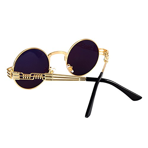 Lunettes Hommes Soleil Lunettes Or Steampunk Rétro Lunettes Rondes Lunettes Soleil Yying Gold Miroir Vintage Femmes Soleil pqtpwax