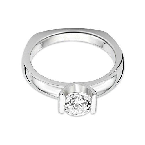 Miore - Bague Solitaire - Argent 925 - Diamant de synthèse