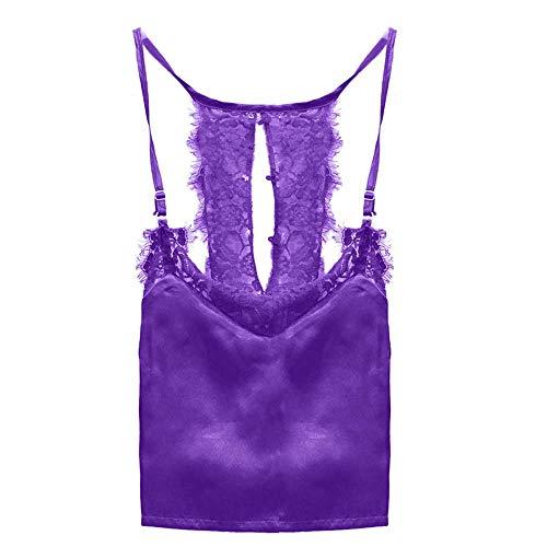 iLUGU Women Sexy Lace Top Button Strappy Racer Back Short Sleeveless Mini Cami Vest Blouse Sleepwear Tank Sleeveless Crop Purple