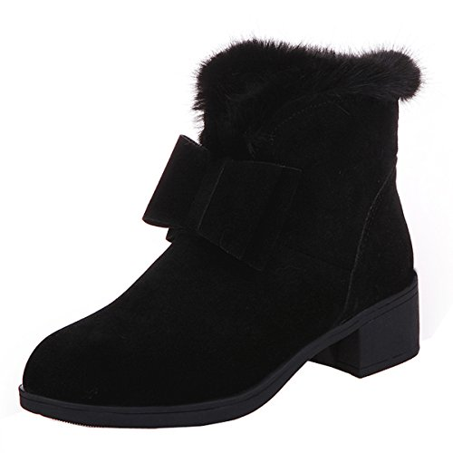 Faux Fur Winter Snow Boots Casual Bowtie Suede Flat Platform Ankle Booties By Dear Time Black CG8yvK