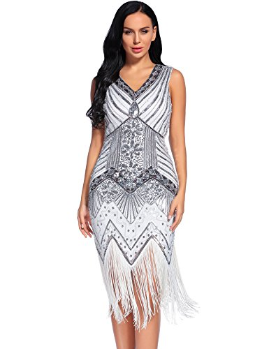 Sexy Fringed Flapper Dress - Flapper Girl 1920s Gastby Sequin Art Embellished Fringed Flapper Dress (L, White)