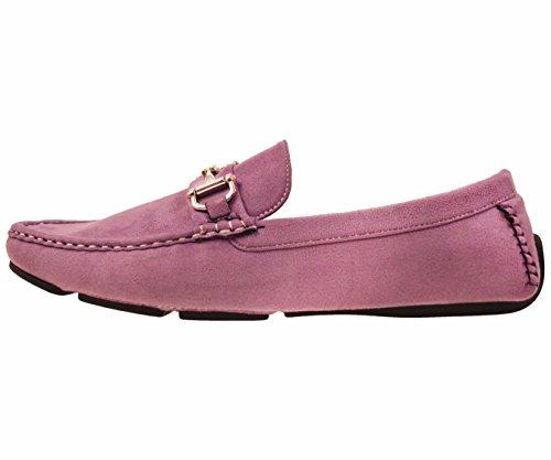 Amali Uomo In Peluche In Microfibra Finta Pelle Scamosciata Mocassino Driving Shoe Con Fibbia Stile Norwalk, Walken, Annodatore Lavanda