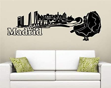 Tatuaje de Pared Skyline XXL Madrid Pared Adhesivo Capital España Decoración Ciudad 1M118 - Rosa brillante, 140 cm: Amazon.es: Hogar
