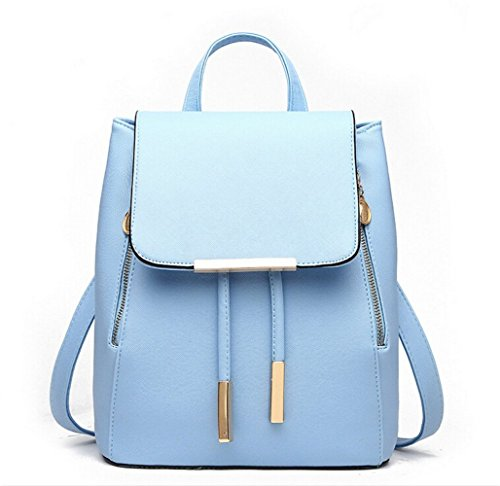 WINK KANGAROO Fashion Shoulder Bag Rucksack PU Leather Women Girls Ladies Backpack Travel bag (Blue) by WINK KANGAROO (Image #5)