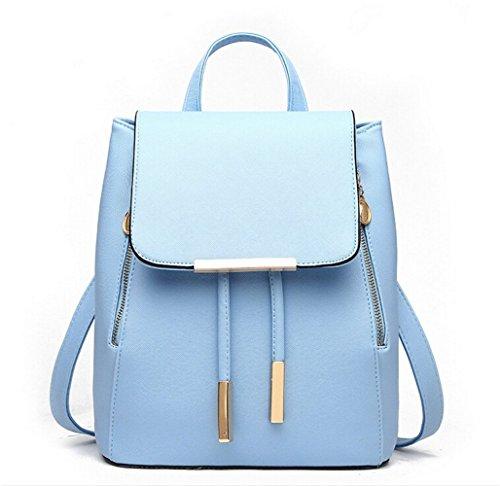 - WINK KANGAROO Fashion Shoulder Bag Rucksack PU Leather Women Girls Ladies Backpack Travel bag (Blue)