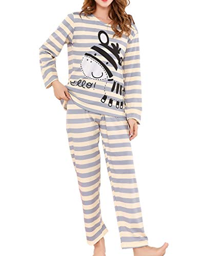HongShow Cute Cartoon Zebra Pajamas Long Sleeve Sleepwears for Big Girls Size 12 14 16 18 ()