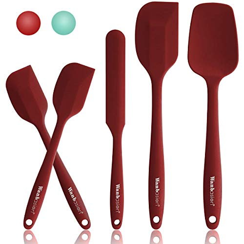 Wanbasion 5 Piece Silicone Spatula Set Heat Resistant, Kitchen Silicone Spatula Utensil Set, Rubber Spatulas for Nonstick Cookware for Cooking Baking Mixing
