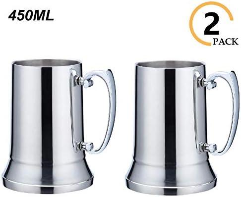 Kitchenmore Jarra de Acero Inoxidable, jarras de jarras de Cerveza, jarras Gigantes Jarra de Metal con Mango para Bodas, cumpleaños, jubilación, Trofeo Deportivo, Regalo de papá 450ML: Amazon.es: Hogar
