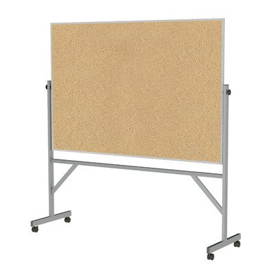 Ghent 4' x 6' Aluminum Frame Mobile Reversible Free Standing Double-Sided Natural Corkboard - Natural Cork Reversible Board