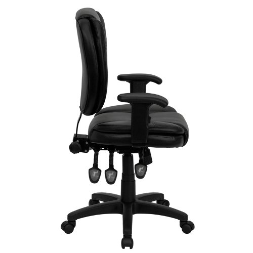 StarSun Depot Mid-Back Black Leather Multifunction Ergonomic Swivel Task Chair with Pillow Top Cushioning and Arms 19.75'' W x 25.75'' D x 35'' - 41'' H