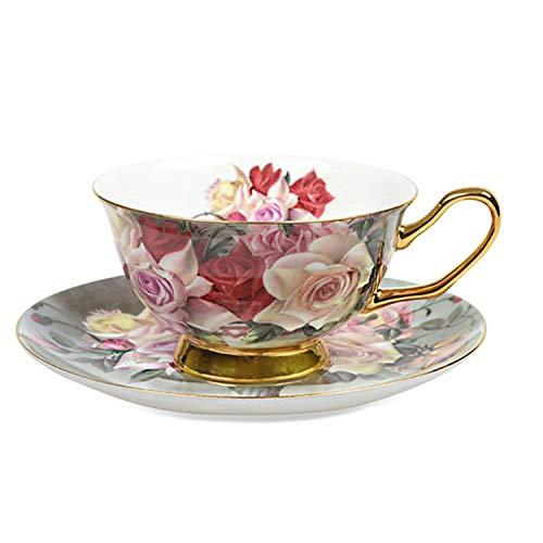 Europe Bone China Coffee Cup Saucer Spoon Set 200ml Ceramic Mug Cafe Party Drinkware,Vintage Rose (Dinnerware White Hobnail)