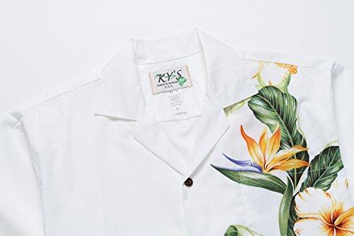 Realizzato in Hawaii Camicia da Aloha Uomo Fronte Uccello del Paradiso Fiore di Hibiscus in Bianca