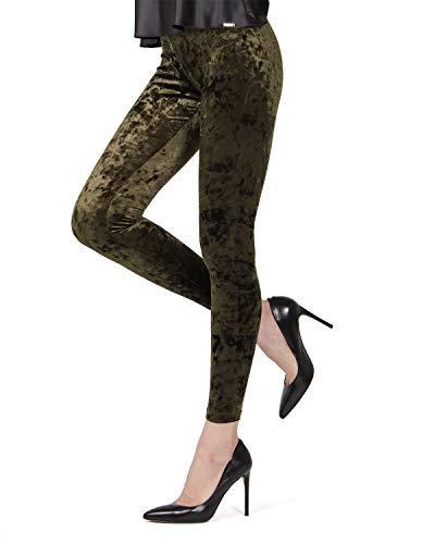 (MeMoi Crushed Velvet Leggings | Women's Premium Fashion Leggings Forest Green MQ 029 Large/XLarge)