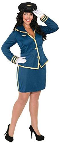 Forum Novelties Women's Plus-Size Cockpit Cutie Pilot Costume, Blue/Gold, (Plus Size Pilot Costumes)