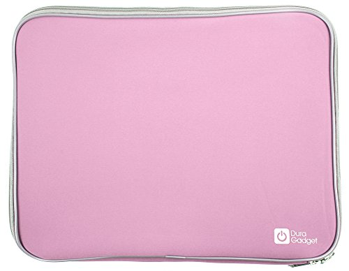 Pink 14  Water   Shock Resistant Neoprene Case With Dual Zips For The Mediacom Smartbook 14 Ultra Notebook   By Duragadget
