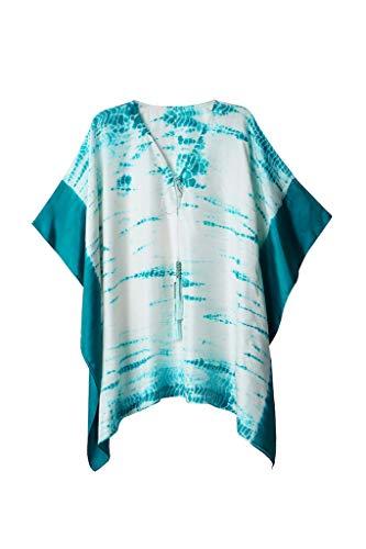 Lyla Silk Tie Dye Kaftan | Beach Coverup with Handmade Beaded Tassels ()