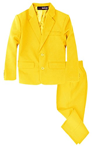 G218 Boys 2 Piece Suit Set Toddler to Teen (7, Yellow)