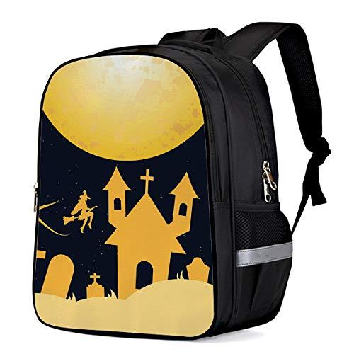 Children Primary School Bags Halloween Night Castle on the Full Moon 3D Printing Kids Backpacks -