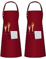 2 szt. fartuchy z 3 kieszeniami dla mężczyzn kobiet, bawełniany fartuch szefa kuchni, regulowany pasek kuchenny fartuch do gotowania, wodoodporny fartuch śliniak do domu restauracji ogrodu pieczenia rękodzieła grilla