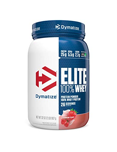 Dymatize Elite 100% Whey Protein Powder, Take Pre Workout or Post Workout, Quick Absorbing & Fast Digesting, Strawberry Blast, 2 Pound