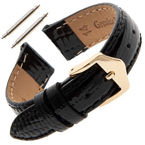 Gilden Ladies 12-14mm Shiny Teju-Lizard-Grain Calfskin Watch Band LS41-0114 (14 Millimeter end Width, Black, Gold-Tone Buckle) ()