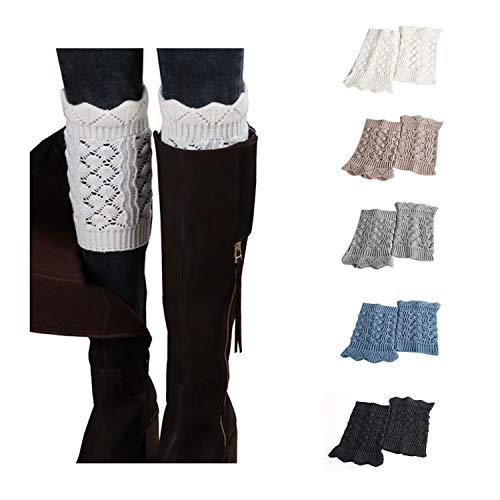 Bestjybt Womens Short Boots Socks Crochet Knitted Boot Cuffs Leg Warmers Socks (5 Pairs-Style J) ()