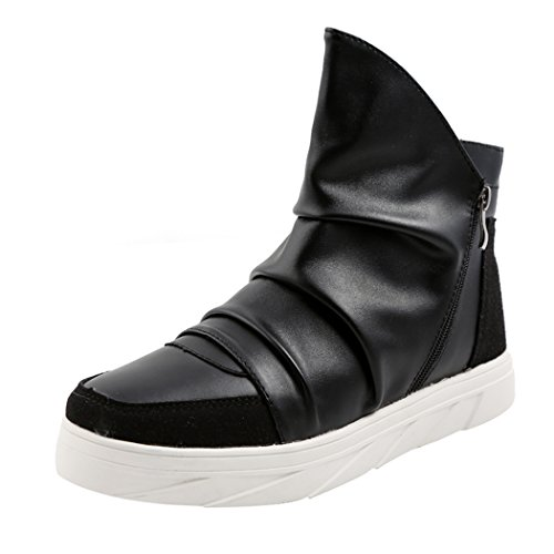 Desklets Mens Winter Fashionable Sneaker Warm Zipper Dunk High Shoes(7.5 D(M) US,Black)
