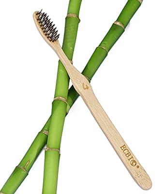 ECBIO Eco-Friendly Bamboo Toothbrush   Biodegradable Medium Nylon 4 Bristles Infused with Binchotan Activated Charcoal