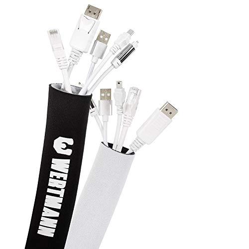 Wertmann Kabelslang, 3m cable management, flexibele kabelgoot met instelbare diameter als kabel of bureau organizer voor…