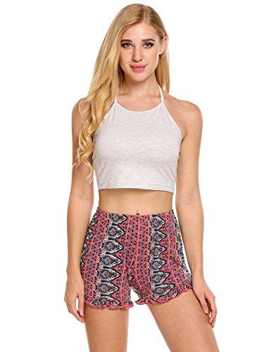e02f44e9b1 Galleon - Ekouaer Womens Short Pajama Set Halter Cami Top Floral Printed  Shorts Sleepwear (5290-Grey