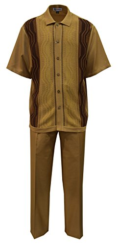 SILVERSILK Men's Knit Front Shirt & Pant Set- Multi Stripes (XL/38, - Tan Stripe Multi