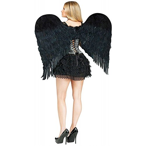 [Feather Angel Wings Adult, Black] (Angel Costume Makeup)