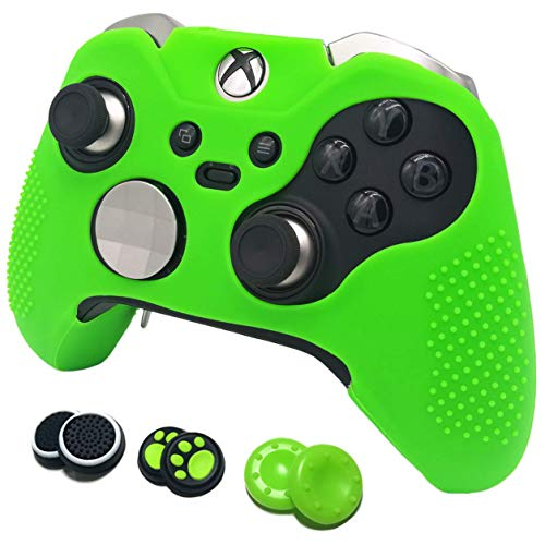 Grips for Microsoft Xbox One Elite Controller easyCool Anti-Slip Silicone Cover Protective Skins (Green) (Green Skin Cover)