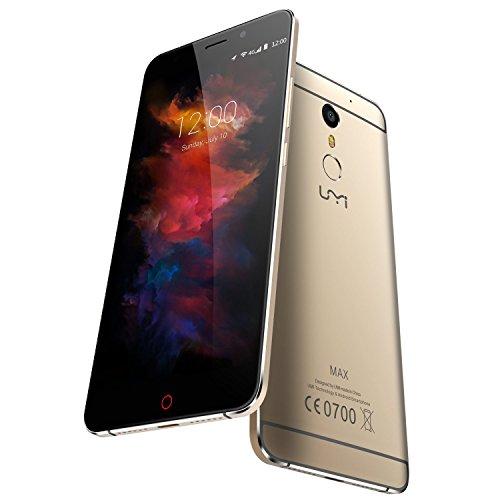 UMIDIGI MAX Smartphone (5,5 Zoll (14 cm) Touch-Display, 4G Dual SIM, Helio P10 Octa Core Prozessor, 3GB RAM16GB ROM, Fingerabdruckscanner, Android 6.0)-GrauGold