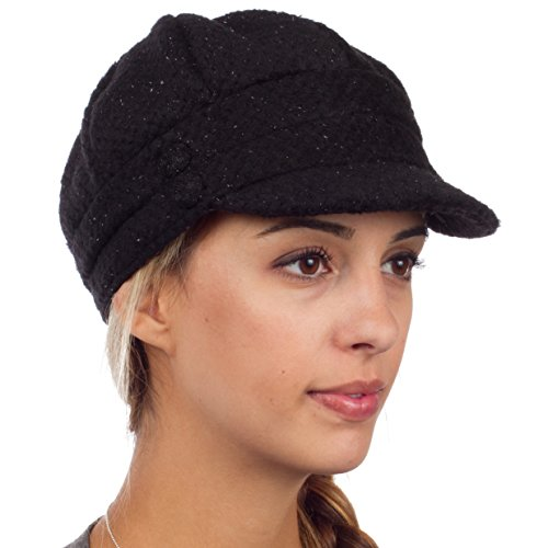EH505BC - Womens Wool Blend Newsboy / Cabbie Winter Hat / Cap with Buttoned Detail - Black/One Size