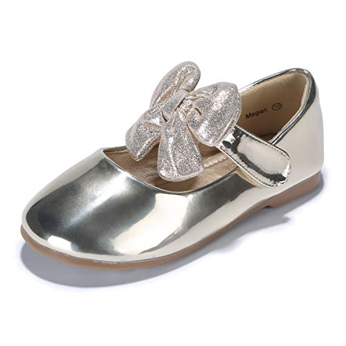 - PANDANINJIA Toddler/Little Kid Megan Flower Girl Dress Shoes School Wedding Party Gold Mary Jane Ballet Flats