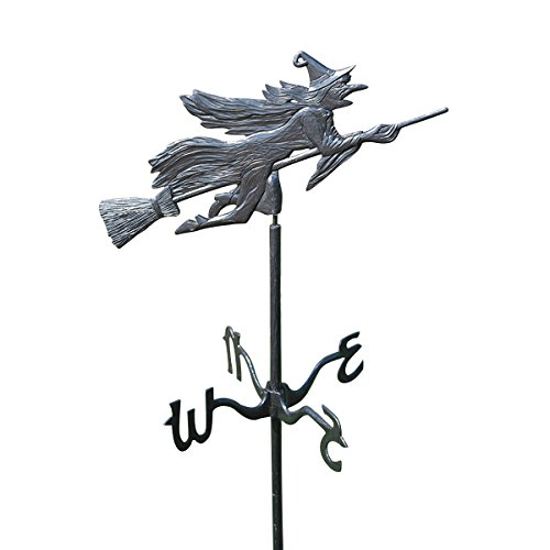 Design Toscano Windblown Wicked Witch Metal Weathervane with Garden Stake, 66 Inch, Aluminum, Black ()