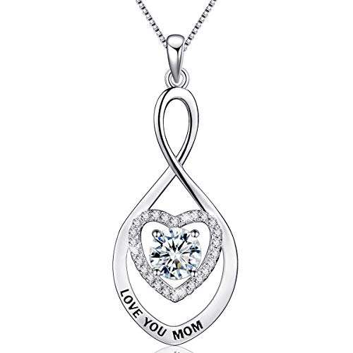 - BLOVIN 925 Sterling Silver Love You Mom Heart Infinity Pendant Necklace Jewelry Gifts for Mother