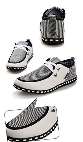TOOGOO(R) Hommes Toile Decontracte Chic Lacet Glissement Mocassins Tisse Chaussures de Conduite Blanc + Gris Taille 42(US 8.5/UK 8/EUR 42)
