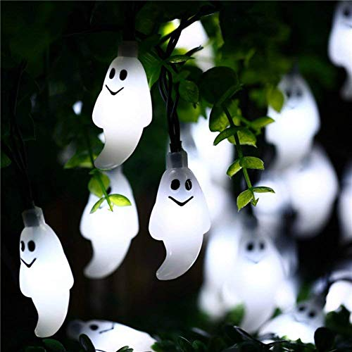 Tereway Halloween Lights, Ghost Shaped LED String Light Decoration Halloween Party, 7.2ft Long 20 LEDs - White