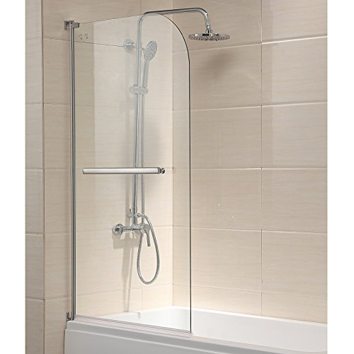 "Mecor 55""X31"" Bathtub Shower Door Hinged Frameless 1/4"" Clear Glass Over 180° Pivot Radius with Handle Chrome Finish"