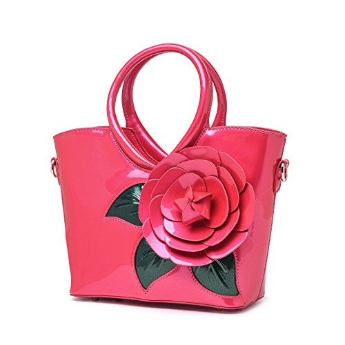 Bag Handbag Patent Ladies Leather red Messenger Handle Tote Girls Satchel KAXIDY Top Rose Flower Shoulder wx0dBBX