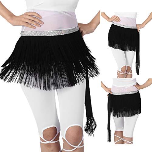 Cinturón Baile Negro Baosity Bufanda Danza Traje Cadera Triángulo Vientre Falda Borlas De Con B 0zTnOqqH